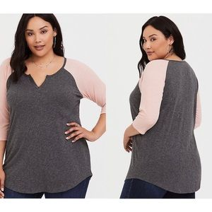 Torrid Grey And Pink Ribbed Raglan T-Shirt